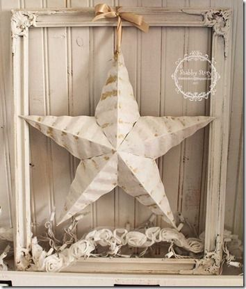 Also use craft starfish and seashells hanging down on rustic twine with a whitewashed frame