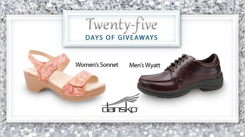 "Its day 3 of our #25DaysofGiveaways!  Today's giveaway, Dansko, has been a leader in comfort footwear since the company first introduced ""Danish"" clogs to America over 20 years ago. Enter here to win a pair of Dansko sandals.Years Ago, Dansko Sandals, Introducing Danishes, Footsmart Saving, Comforters Footwear, 20 Years, Today Giveaways"