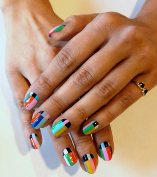 TV on the nails.: Nails Art Ideas, Nailart, Makeup Artists, Manicures, Colors Block, Public Service Announcements, Design, Rainbows Nails, Nails Wraps