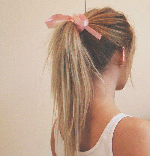 bows in pones: Hairstyles, Hair Colors, Hair Ribbons, Pink Ribbons, Pink Bows, Hair Style, Cute Ponytail, High Ponytail, Ponies Tail