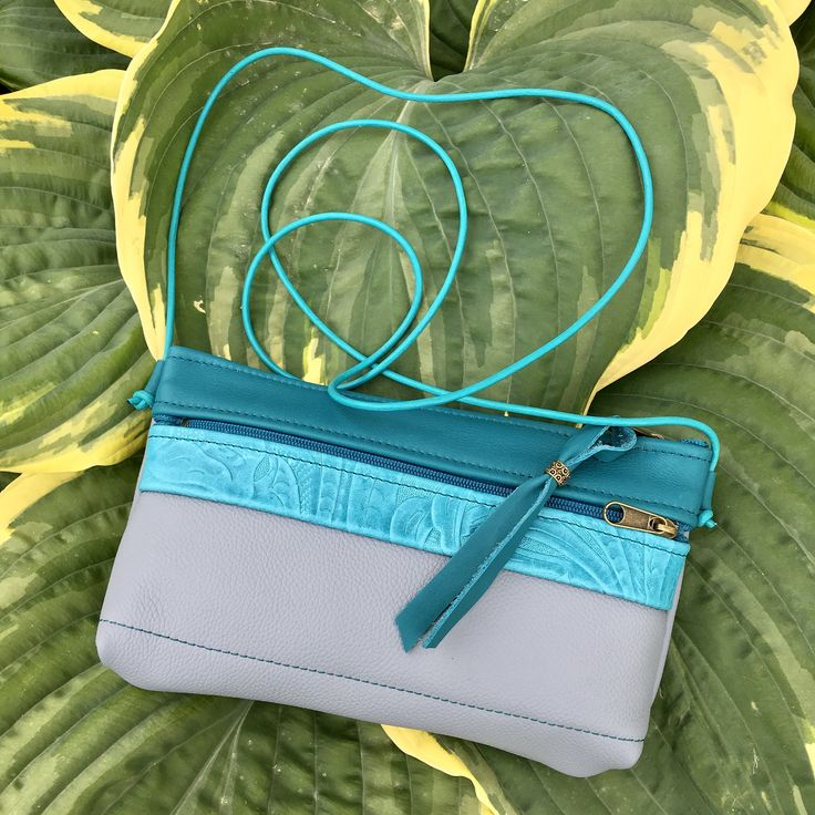 Italian leather crossbody mini bag phone case small shoulder festival bag Skyblue adjustable leather strap iphone pocket Pat Halpen Leather by SkyPathDesign on Etsy