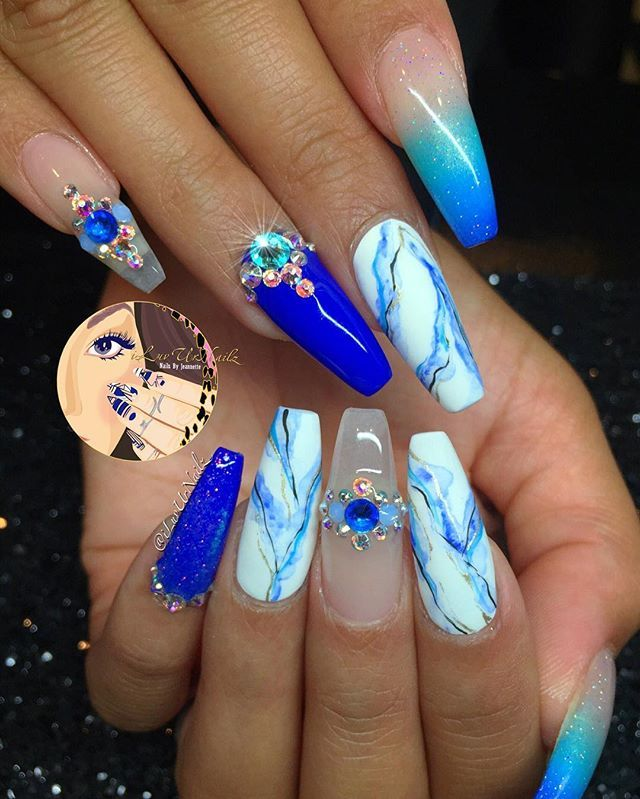 Marble Nails Acrylic Blue