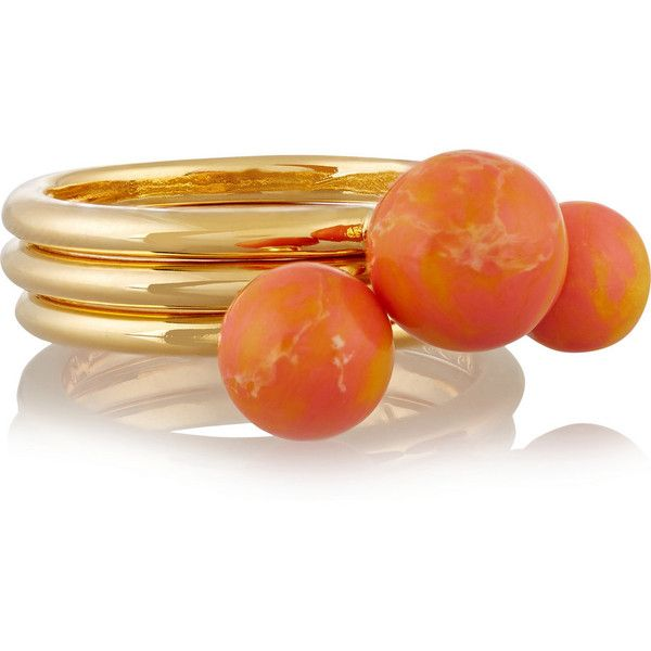 Noir Jewelry Set of three gold-plated jasper rings ($25) ❤ liked on Polyvore featuring jewelry, rings, accessories, bright orange, gold plated jewellery, gold plated jewelry, gold plated rings, noir jewelry and orange ring