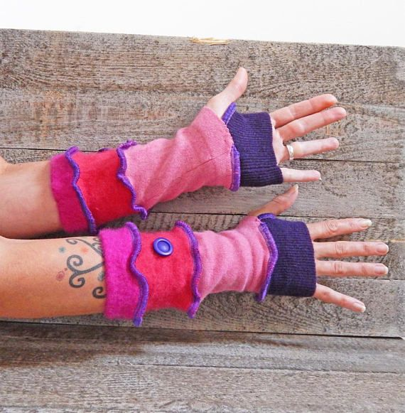 Pink Purple Gloves Cashmere Armwarmers Soft Gloves Arm