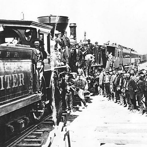 1869. The last spike of the first transcontinental railway was struck into the ground. This marked the completion of the railroad and the end of the race to the west between Central Pacific and Union Pacific railroad crews.