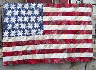 American Flag Quilt. Free pattern and how to sew the little blocks fast on her blog.   ~Kelly