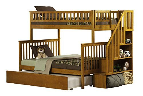 Create a great space with the #Woodland Bookshelf Staircase Bunk Bed. This timeless style craftsman bunk bed features beautifully detailed matching guard rails a...
