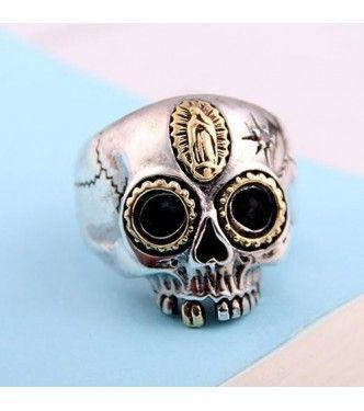 Мужская стерлингового серебра Дева Мария кольцо череп