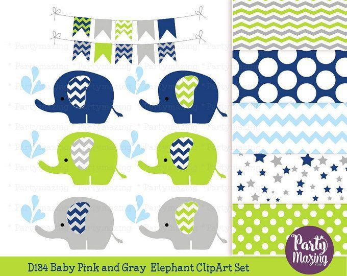 Navy Blue Baby Elephant Clipart Set, Grey Chevron Sprinkle ...