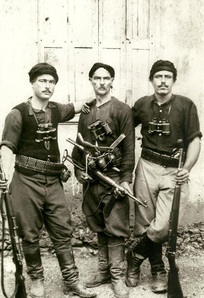 Iconic image of Greek partisans who fought German invaders during the battle of Crete (May 1941).