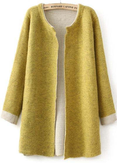 Yellow Long Sleeve Slim Knit Cardigan