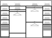 Наполнение шкафа состоит из  4-х выдвижных ящиков,  8-ми полок для вещей,  1-й полки для обуви,  1-й гардеробной штанги для длинных вещей,  2-х штанг для коротких вещей,  1-й большой полки над штангой,  1-й антресольной полки