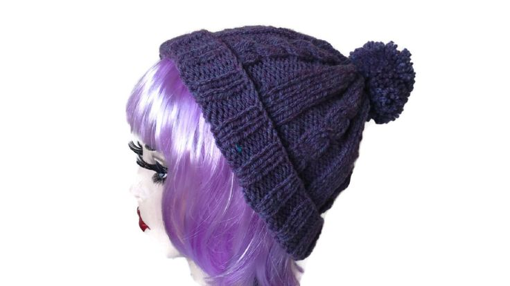 Purple Knitted Hat Cable Aran Retro Ski Bobble Pompom Slouchy Beanie by thekittensmittensuk on Etsy