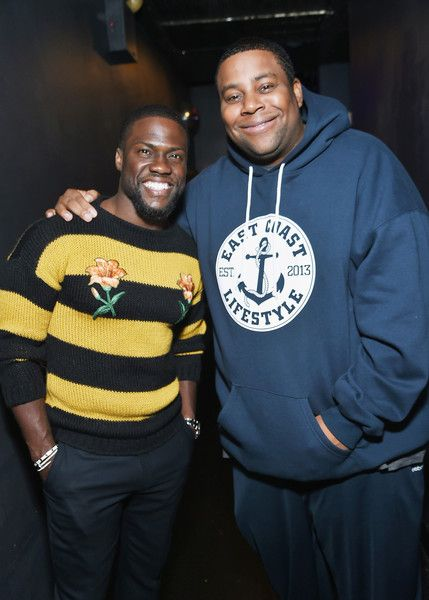 Actors and comedians Kevin Hart and Kenan Thompson pose for a picture at SiriusXM's 'Town Hall' series.