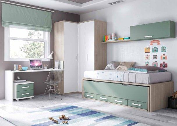 Habitacion Juvenil con compacto y armario rincon
