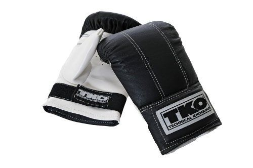 TKO 501LPB Pro Style Bag Gloves OSFA by TKO. Save 2 Off!. $39.19. Amazon.com                TKO's 501LPB-PW Pro Style Bag Gloves are constructed of pre-shaped top grain leather, which gives them a toughness that protects your hands and gives the glove a long life. The adjustable Velcro closure allows for a great fit, and the padded palm grip helps absorb the shock of impact. These gloves are ideal for use with a heavy bag in strength and cardiovascular training. About TKO Founded in ...