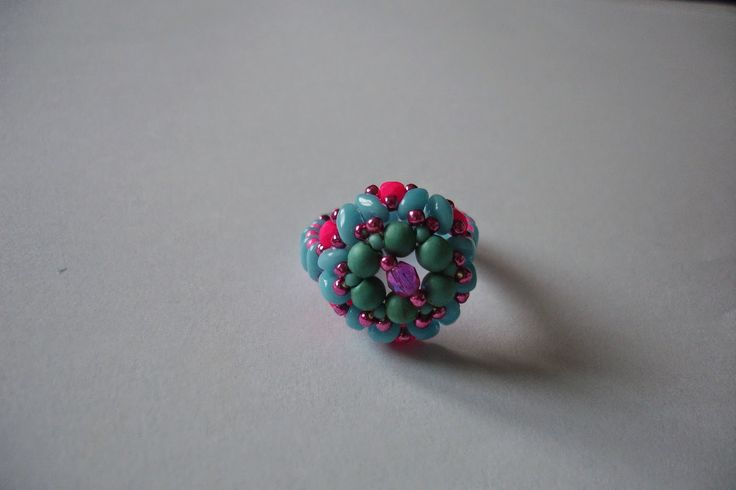 WyszywAnka: turkusowy pierścionek