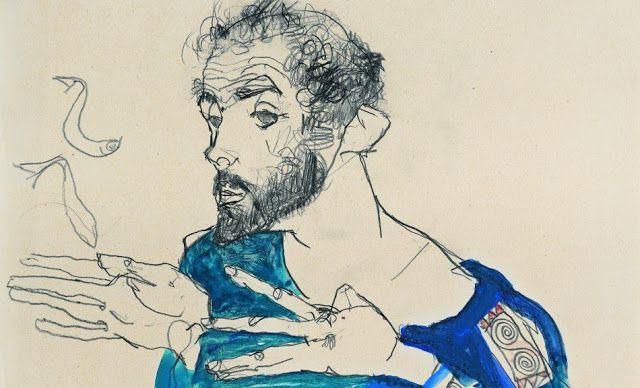 Ο Γκούσταβ Κλιμτ  με μπλε μπλούζα εργασίας (1913)  Μουσείο Λέοπολντ στη Βιέννη