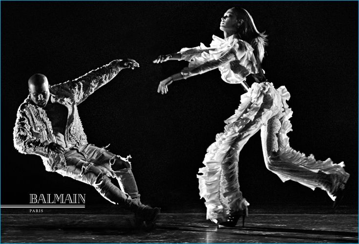 Kanye West and Joan Smalls front Balmain's fall-winter 2016 campaign.