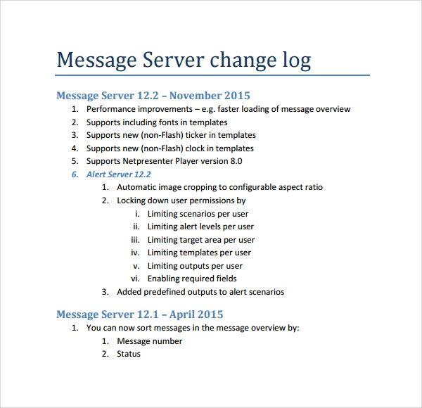 Change Log Templates 6 Free Printable Ms Word Logs Templates Words Printables