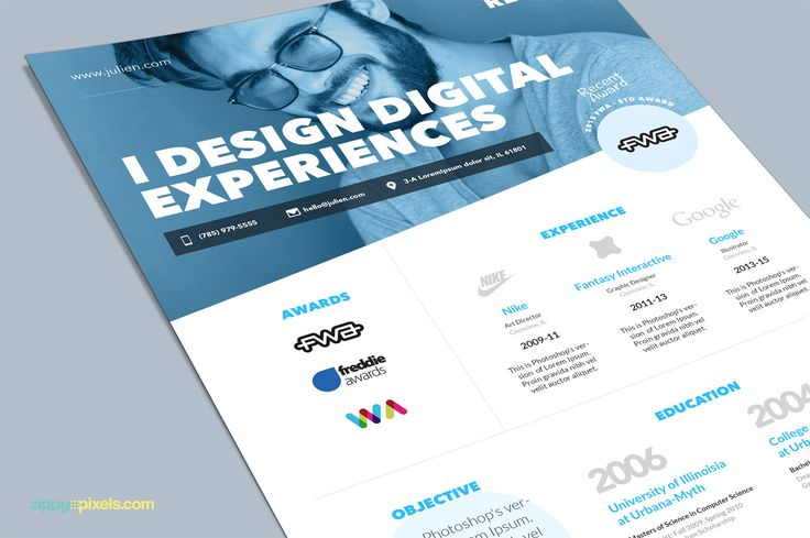One Page Resume CV & Cover Letter by ZippyPixels on @creativemarket