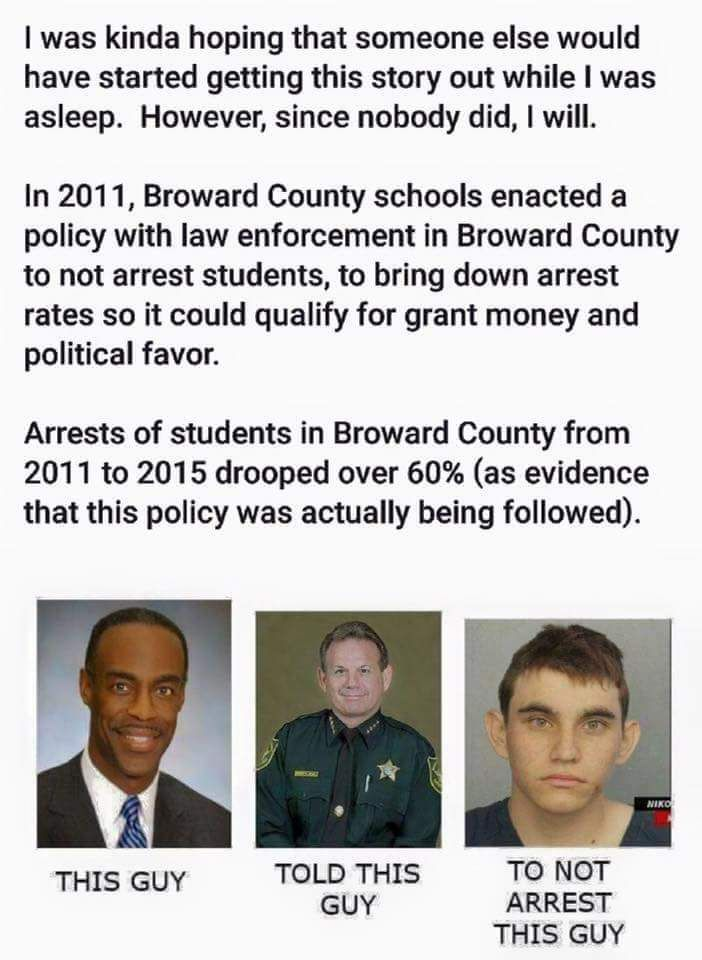 Further explains why Cruz was given a pass for so long by Broward County Law Enforcement agencies. Cruz was their Patsy and this was a False Flag Event.
