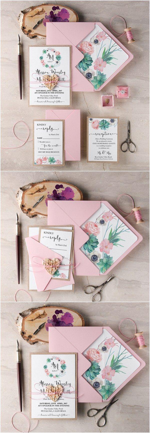 Rustic pink wedding invitations @4LOVEPolkaDots