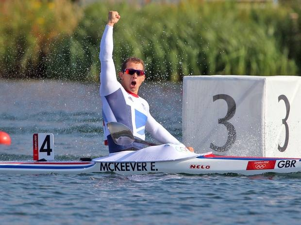 Ed McKeever celebrates after storming to gold in the 200m kayak sprint