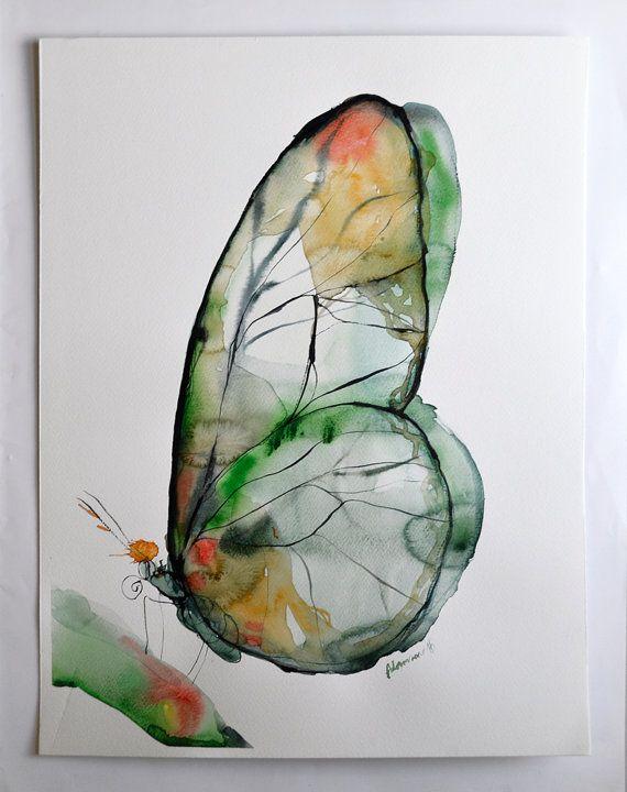 Arte acquerello di farfalla verde opere d'arte di AlisaAdamsoneArt