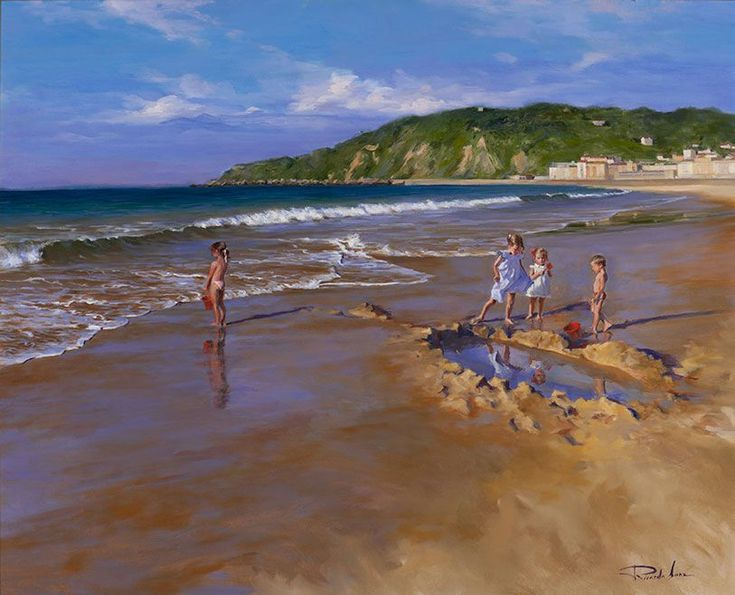 Ricardo Sanz – Jugando en la orilla II Óleo sobre lienzo. 81×100 cms.