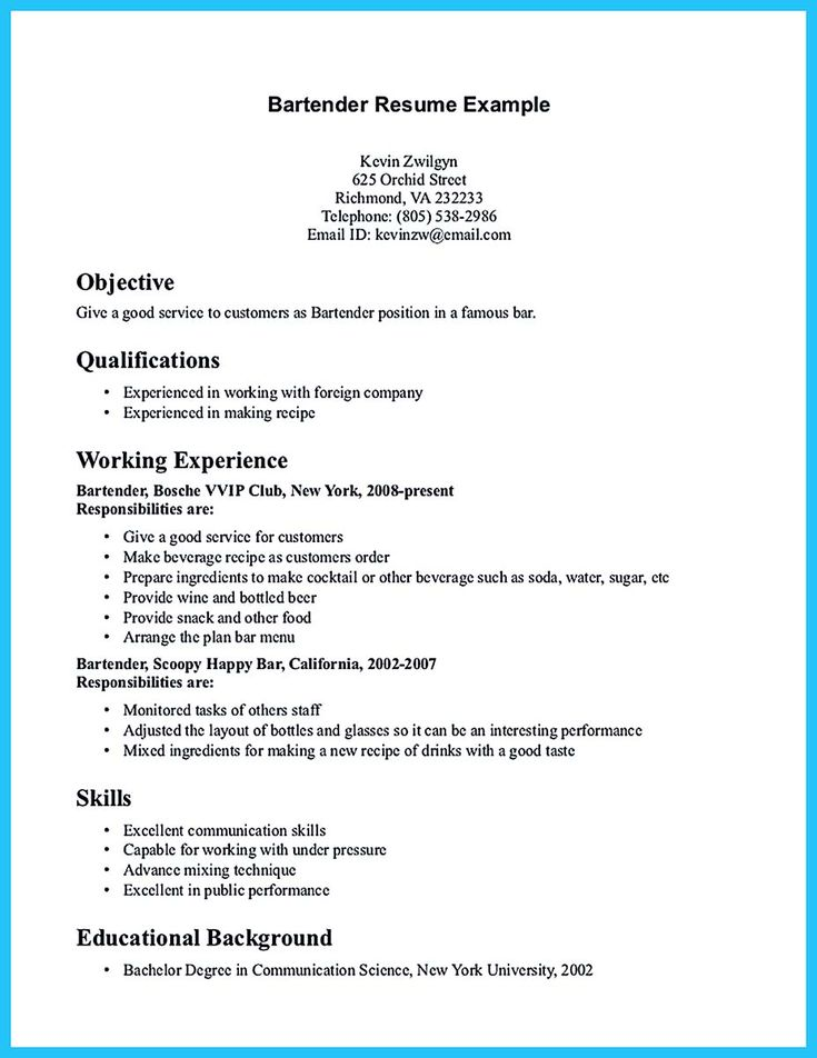 Server Bartender Resume Professional Bartender Server Templates - examples of resumes for a job