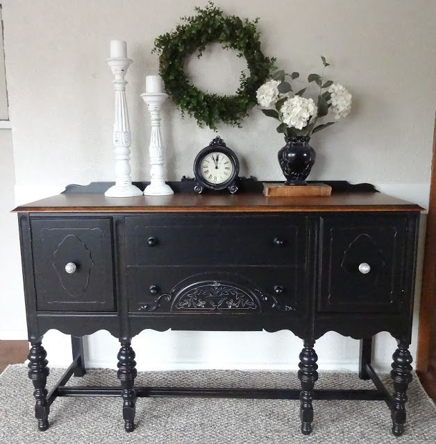 black buffet. love this look. Get it with Chalk Paint® decorative paint by Annie Sloan in Graphite, and go straight to dark wax for this darker look.