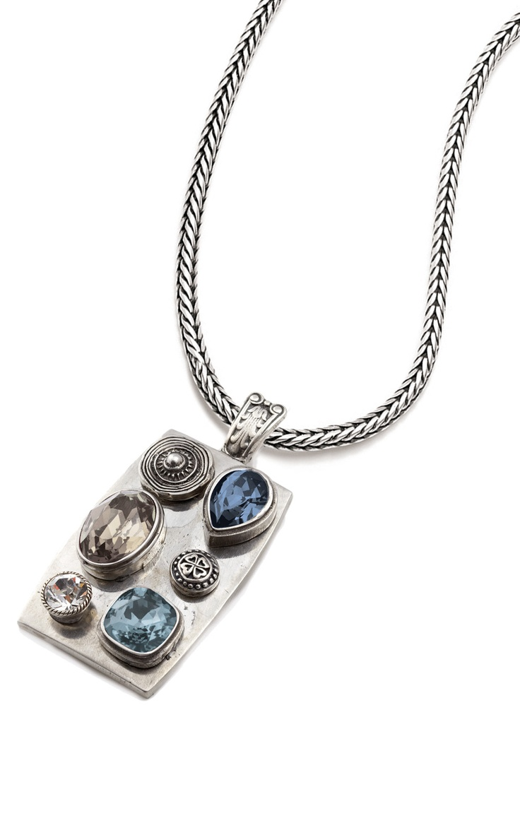 Burnished silver enhancer encrusted with Smoked Topaz, Denim Blue, and Indian Sapphire Swarovski Crystals (EN919) pictured on sleek burnished silver necklace (N377).