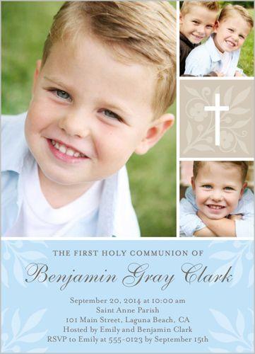 Floral Cross Boy Communion Invitation