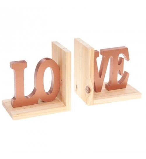 S_2 WOODEN BOOKEND LOVE 31(16)X11X16