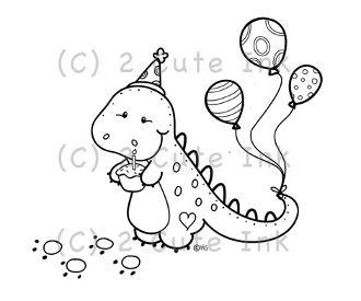 Birthday Dino 2 Cute Ink Digital Stamp $3.00