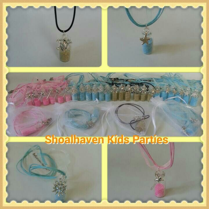 Necklaces - Pirate Gold Dust, Mermaid Pixie Dust, Frozen Dust Fairy Dust. Created by Shoalhaven Kids Parties.