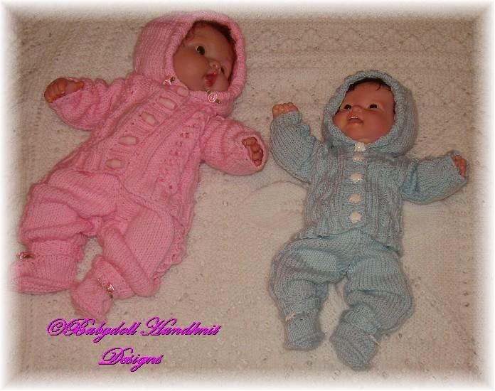 FREE Hooded Suits for 10-16 inch boy or girl: 1) http://www.babydollhandknitdesigns.co.uk/item_58/FREE-Hooded-Suits-for-10-16-inch-boy-or-girl.htm 2) http://www.babydollhandknitdesigns.co.uk/D5_Twins_hooded_10-16.pdf