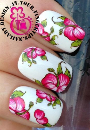 NAIL-ART-WRAPS-WATER-TRANSFERS-STICKERS-DECALS-DECORATION-SET-HIBISCUS-173
