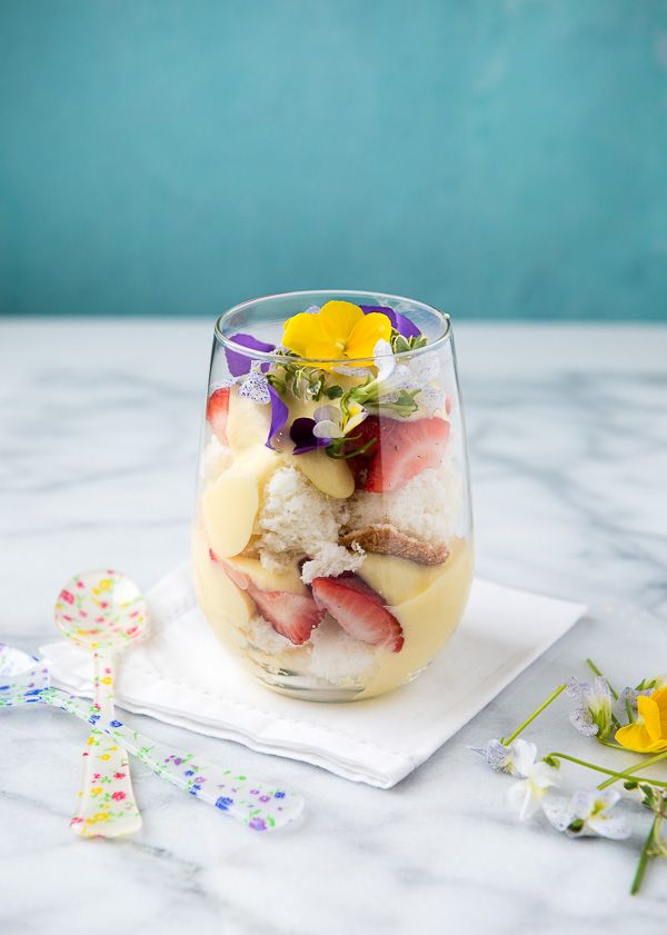 Strawberry Lemon Custard Trifle with edible flowers - BoulderLocavore.com
