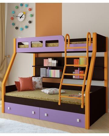РВ мебель Рио каркас венге/оранжевый фиолетовая  — 21900р. ----- Двухъярусная кровать Рио каркас венге/оранжевый фиолетовая РВ мебель позволит вам значительно сэкономить жизненное пространство и обеспечить два полноценных спальных места.