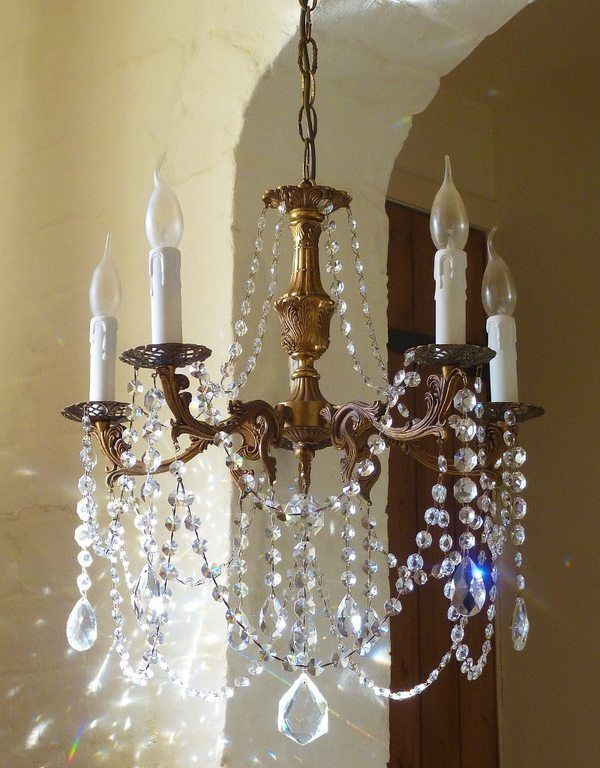 Beautiful Vintage French Rococo Crystal Chandelier 5 Lamp Light Shabby Chic