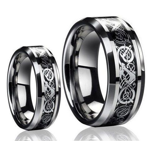 His & Her's 8MM/6MM Dragon Design Tungsten Carbide Wedding Band Ring Set (Available Sizes 5-14 Including Half Sizes) Please e-mail sizesby Tungsten Ring Set
