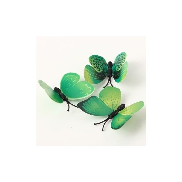 12Pcs 3D Art Decals Green Butterfly Wall Stickers Home Wedding Party... ($3.20) ❤ liked on Polyvore featuring home, home decor, wall art, green, butterfly wall art, butterfly wall stickers, green home accessories, butterfly home decor and green wall art
