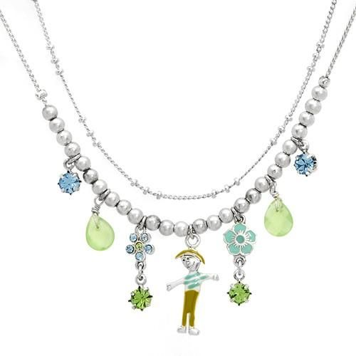 Necklace With Crystals Vibrant necklace with crystals and simulated gems silver base metal and multicolor enamel. Total item weight 16.0g. Gemstone info: 10 crystals with round shape and multicolor, 2 simulated gems with pear shape and green color