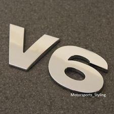 Chrome V6 Rear Boot Badge Emblem Decal Car Van Back Tailgate Fender Wing Side v6