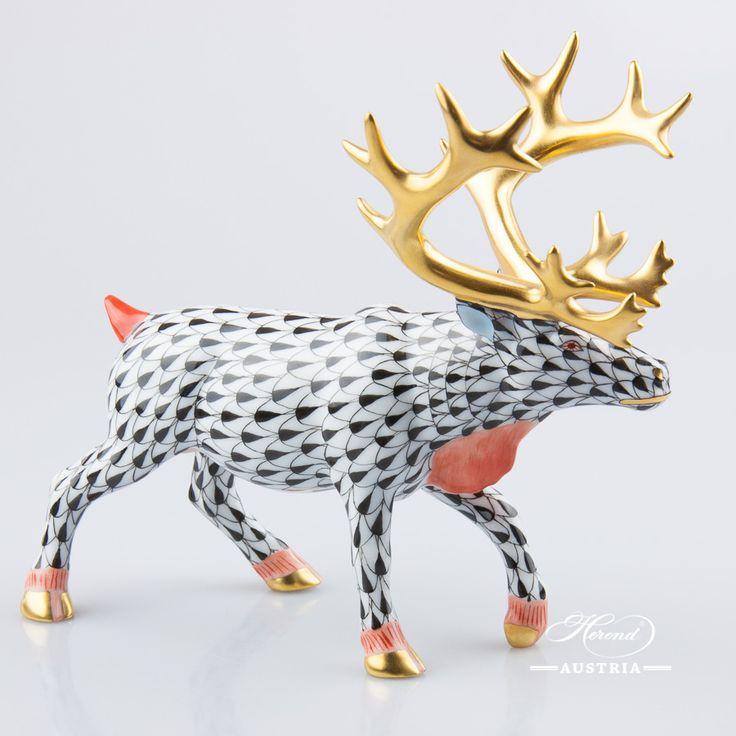 The Leadeer :)  Deer – Reindeer - Herend Animal Figurine 15659-0-00 VHN - Black