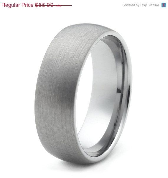 ON SALE 8mm Brushed Tungsten Wedding Band Ring For Men and Women ...
