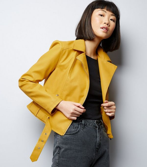 Yellow Belted Cropped Leather-Look Biker Jacket  | New Look