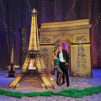 Deluxe Set the Stage Paris Event Kit 1 Arc de Triomphe Arch 1 Pictures From Paris Tower 1 Black Luminescent Column 1 Black Glitter Eiffel Tower Cutout 1 Illuminated Eiffel Tower 1 Paris Eiffel Tower Standee $600 (basic version kit $400)